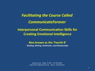 Facilitating the Course Called CommunicateForever
