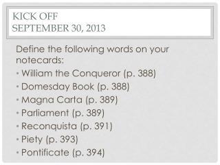 Kick Off September 30, 2013