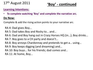 Learning Intentions: To complete watching 'Boy' and complete the narrative arc. Do Now: