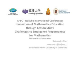 APEC - Tsukuba International Conference: Innovation of Mathematics Education through Lesson Study