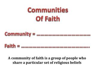 Communities Of Faith
