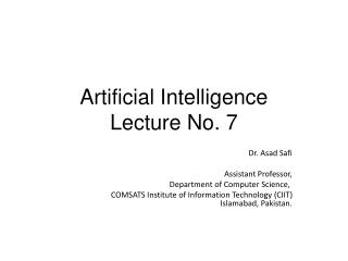 Artificial Intelligence Lecture No. 7