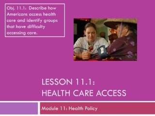 Lesson 11.1: Health Care Access