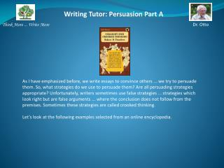 Writing Tutor:  Persuasion Part A