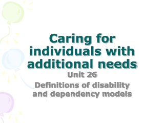 The Medical and Social Models of Disability