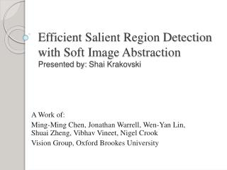 Efficient Salient Region Detection with Soft Image Abstraction Presented by:  Shai Krakovski