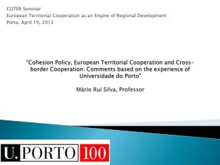 COTER Seminar European Territorial Cooperation as an Engine of Regional Development