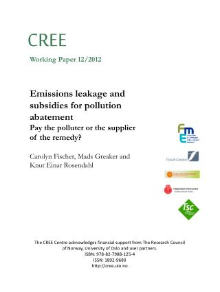 Emissions leakage and subsidies for pollution abatement