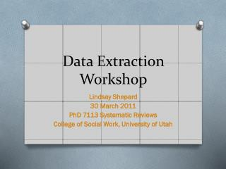 Data Extraction Workshop