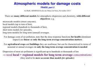 Atmospheric models for damage costs TRADD, part 2