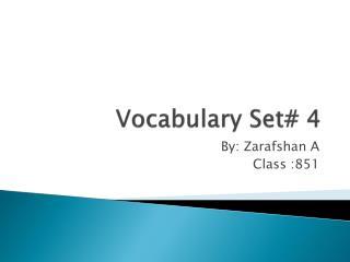 Vocabulary Set# 4