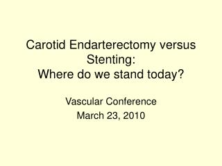 Carotid Endarterectomy versus Stenting: Where do we stand today
