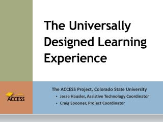 The Universally Designed Learning Experience