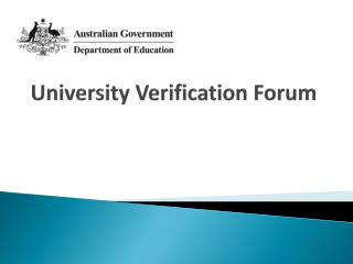 University Verification Forum