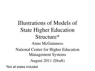 Illustrations of Models of State Higher Education Structure*
