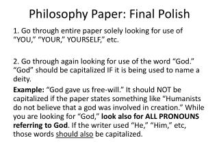 Philosophy Paper: Final Polish
