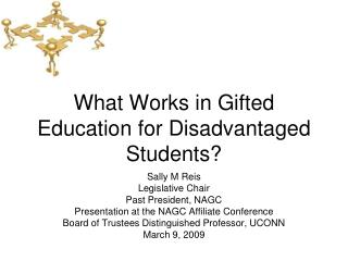 What Works in Gifted Education for Disadvantaged Students