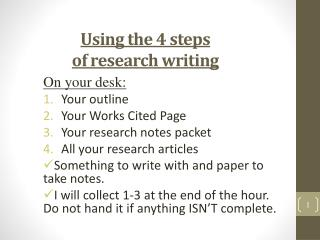 Using the 4 steps  of research writing