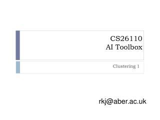 CS26110 AI Toolbox