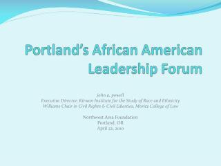 Portland's African American Leadership Forum