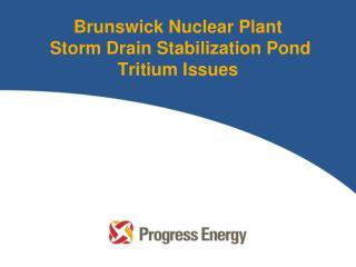 Brunswick Nuclear Plant  Storm Drain Stabilization Pond Tritium Issues