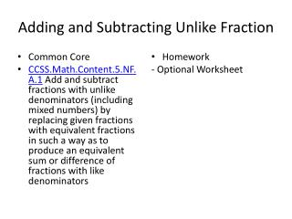 Adding and Subtracting Unlike Fraction