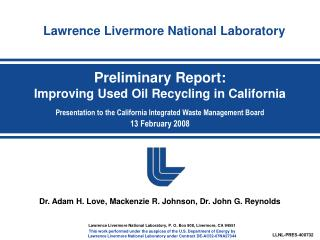 Preliminary Report: Improving Used Oil Recycling in California  Presentation to the California Integrated Waste Manageme