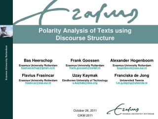 Polarity Analysis of Texts using Discourse Structure