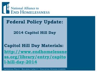 Federal Policy Update:  2014 Capitol Hill Day