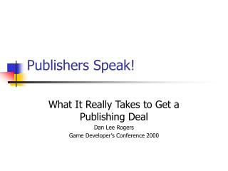 Publishers Speak