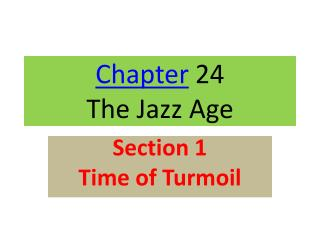 Chapter  24 The Jazz Age