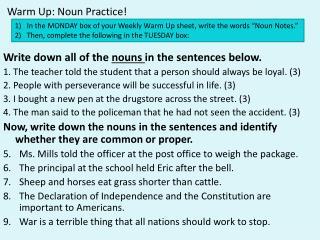 Warm Up: Noun Practice!