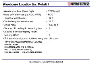 Warehouse Area (Total  Sqft )		 -   17000 sq ft Type of Warehouse ( i.e.RCC  /PEB)	 -   RCC