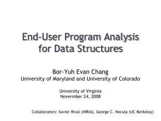 End-User Program Analysis  for Data Structures