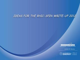 Ideas for the RHIC-Spin Write-Up 2012