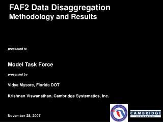 FAF2 Data Disaggregation  Methodology and Results