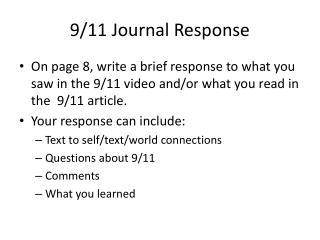 9/11 Journal Response