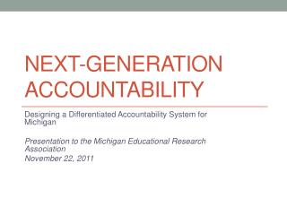 Next-Generation Accountability