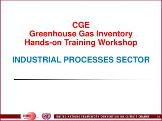CGE Greenhouse Gas Inventory  Hands-on Training Workshop   INDUSTRIAL PROCESSES SECTOR