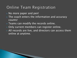 Online  Team  R egistration