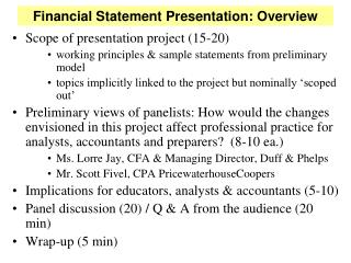 Financial Statement Presentation: Overview