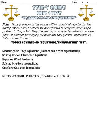 "Study  Guide Unit 4 Test ""equations  and  inequalities """