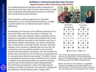 Building in material properties layer by layer Matthew  Dawber , SUNY at Stony Brook, DMR 1055413