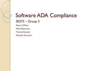 Software ADA Compliance