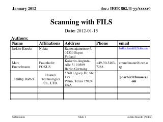Scanning with FILS