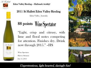 2011  St Hallett  Eden Valley Riesling  Eden Valley ,  Australia