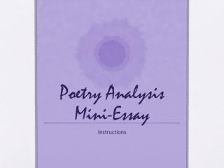 Poetry Analysis Mini-Essay