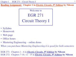 Chapter 1      EGR 271 – Circuit Theory I
