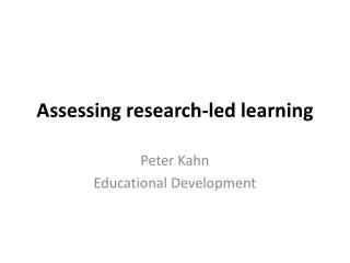 Assessing research-led learning