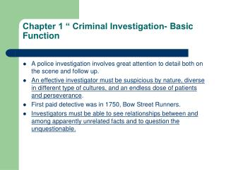 "Chapter 1 "" Criminal Investigation- Basic Function"